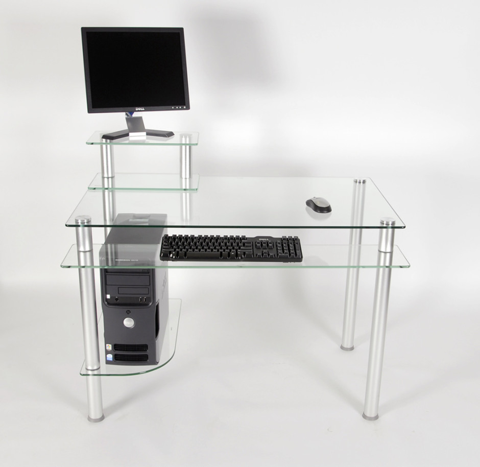 Ct 009 Clear Glass And Aluminum Computer Desk
